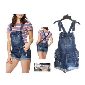 Wallflower junior denim short overalls